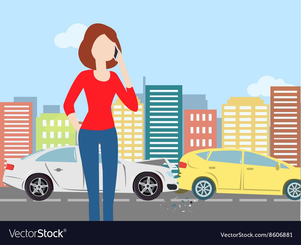 Woman calling after car crash in the city vector