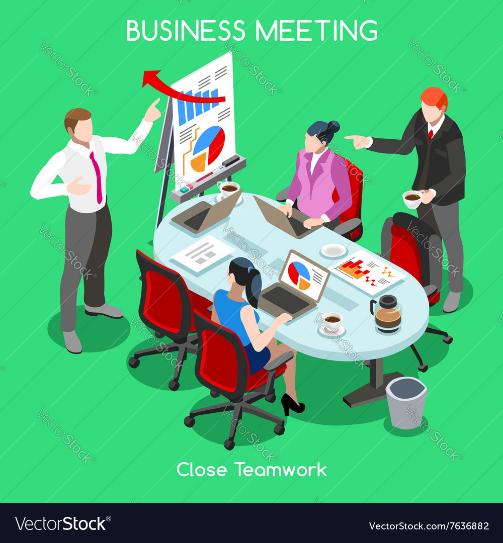 Business room 04 people isometric vector