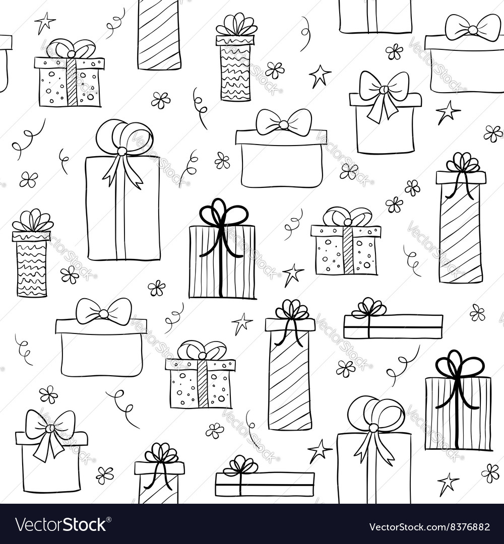 Seamless pattern with hand drawn gift boxes vector