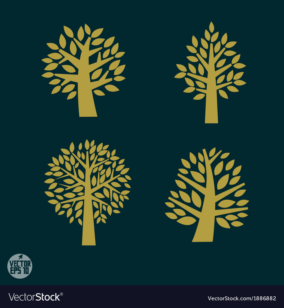 Set of gold tree symbol isolated on dark backgroun vector