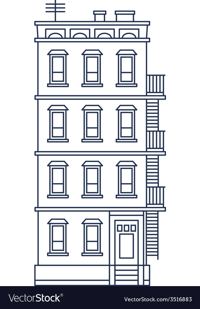 line drawn old building with balcony and stairs vector