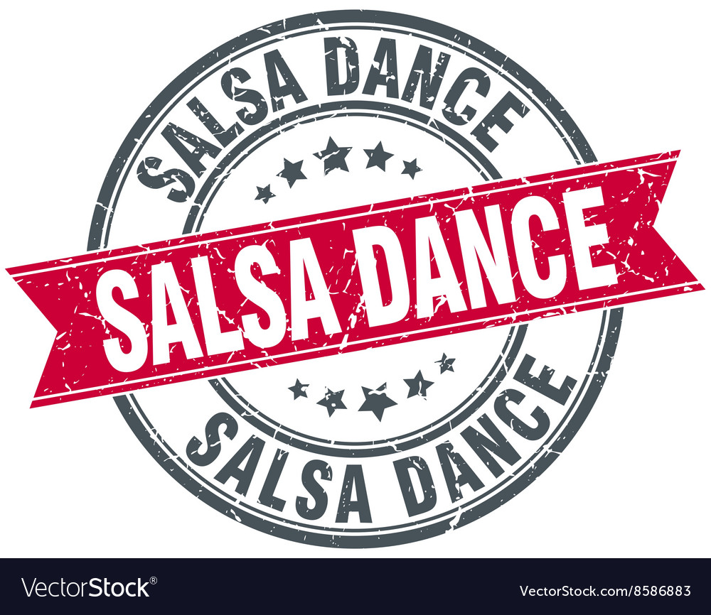 Salsa dance red round grunge vintage ribbon stamp vector