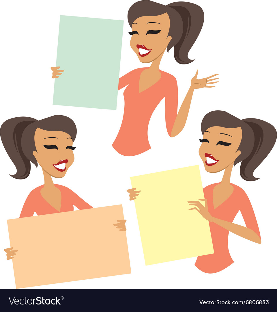 Woman holding blank cards vector