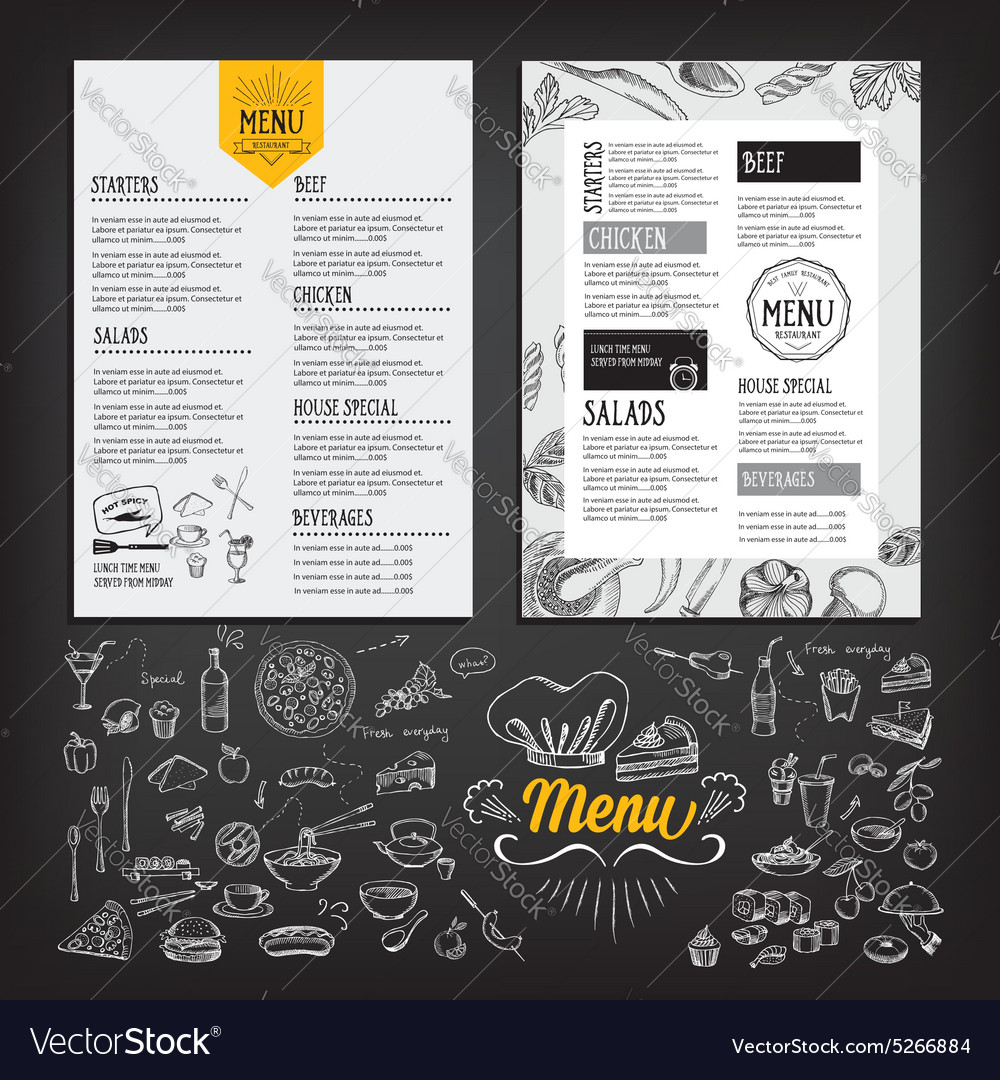 Cafe menu restaurant brochure food design template vector