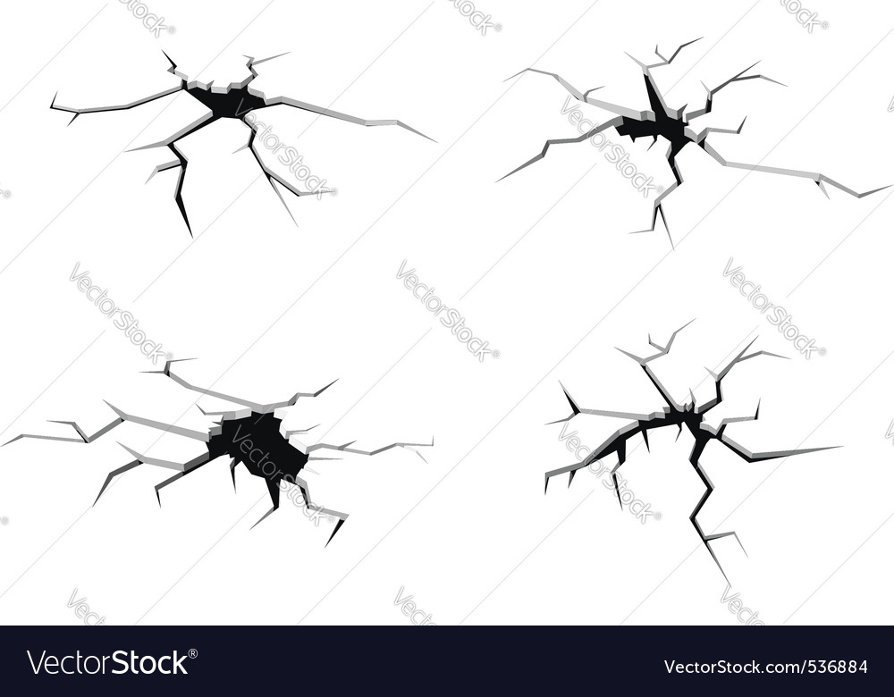 Set of cracks in ground isolated on white backgrou vector