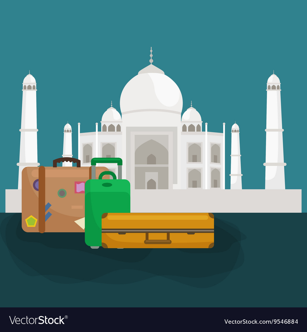Traveling bag suitcase for trip or vocation vector