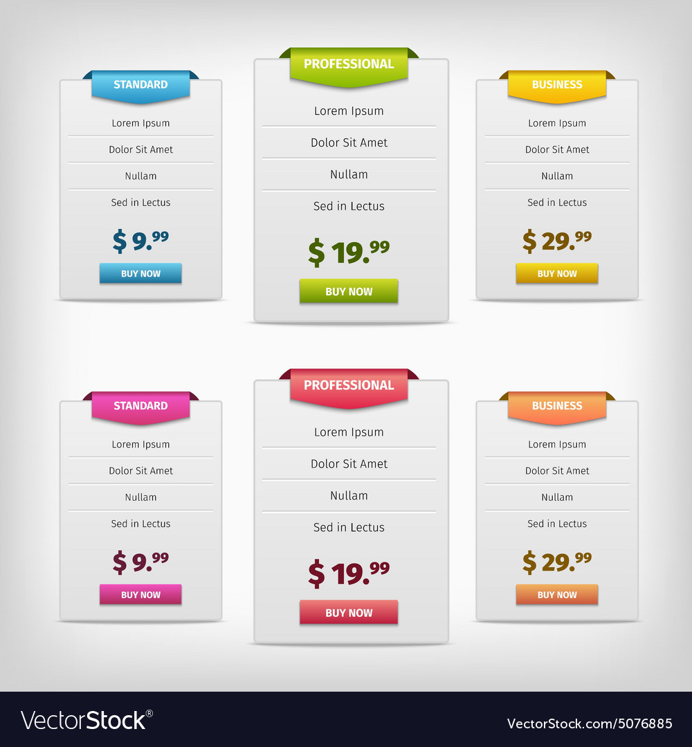 Colorful pricing plans conception vector