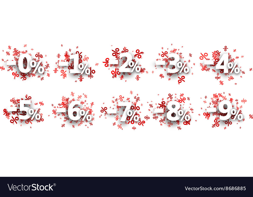 Discount signs paper set vector