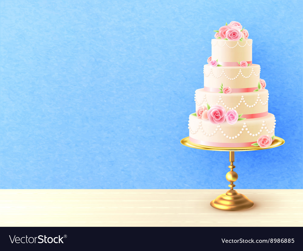 Wedding cake with roses realistic image vector