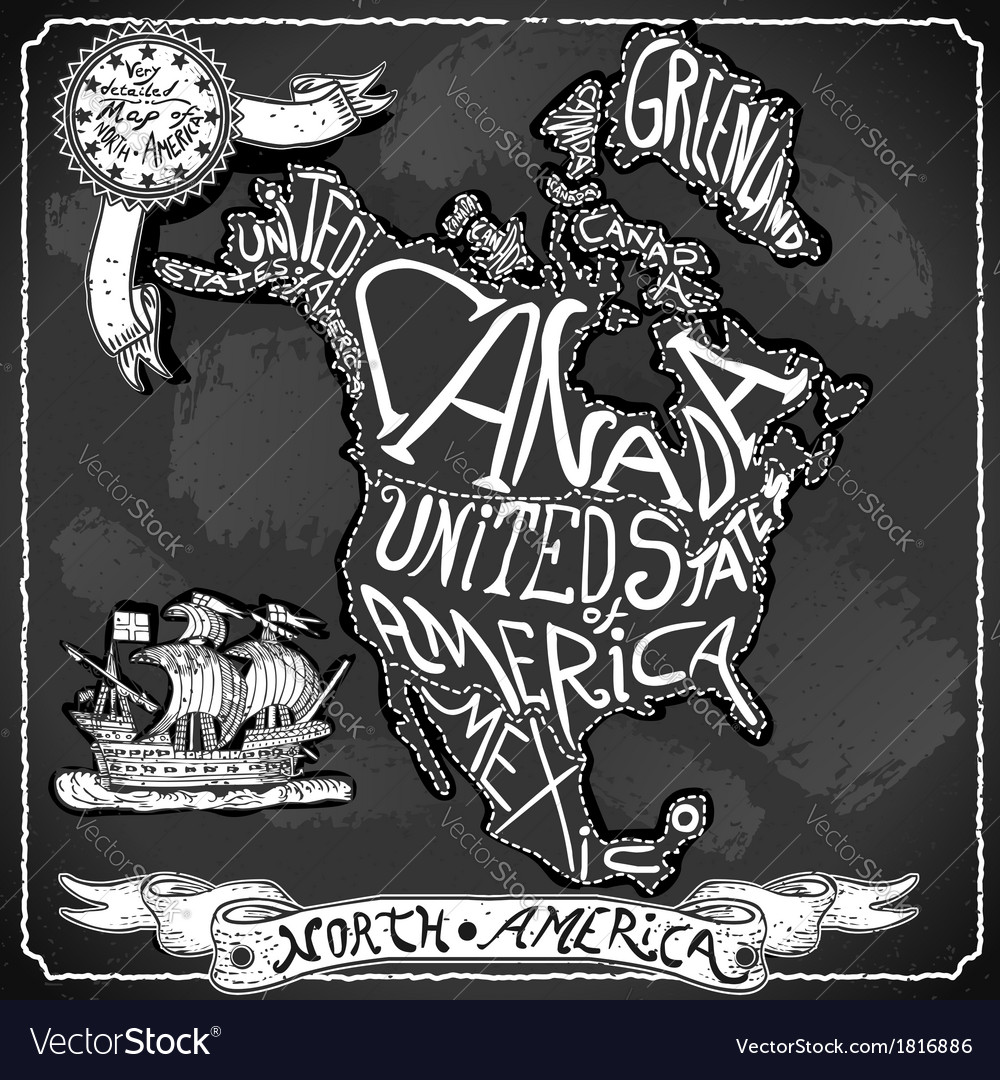 North america map on vintage handwriting vector