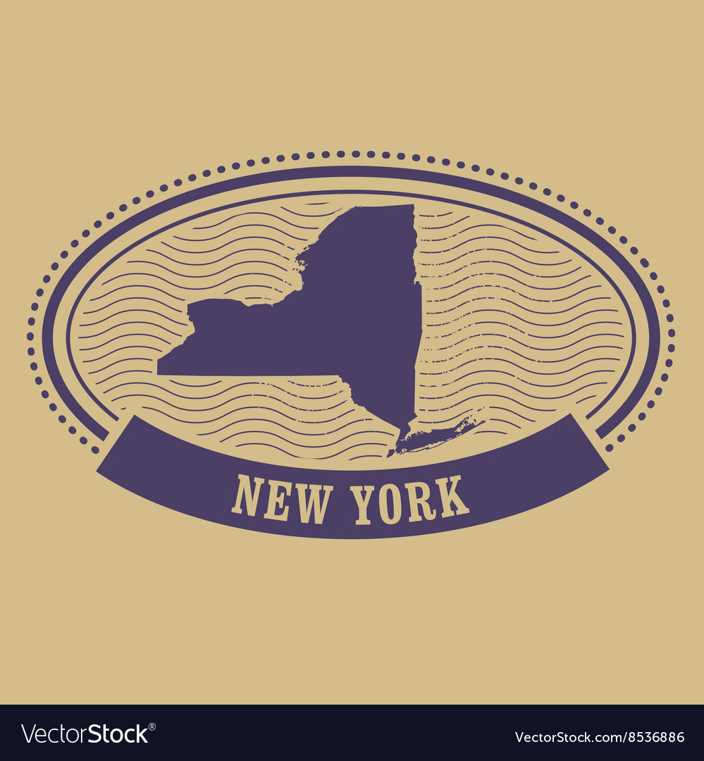 Oval stamp with new york state map contour vector