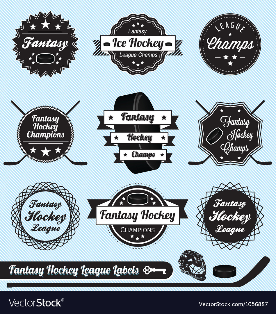 Fantasy hockey league champions labels vector