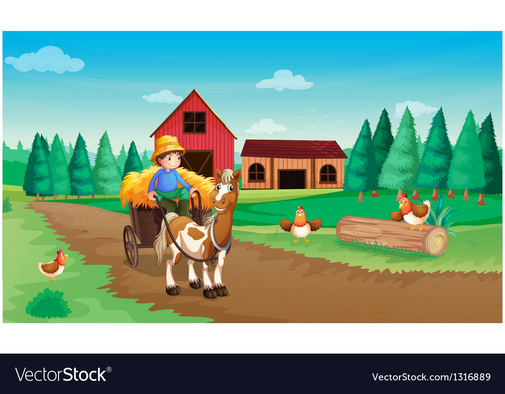 A farm with a farmer and his pets vector
