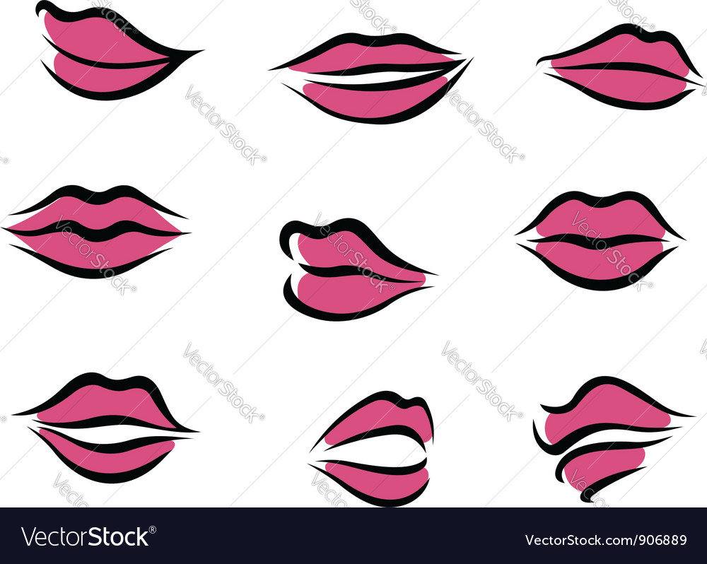Set of woman lips in cartoon style vector