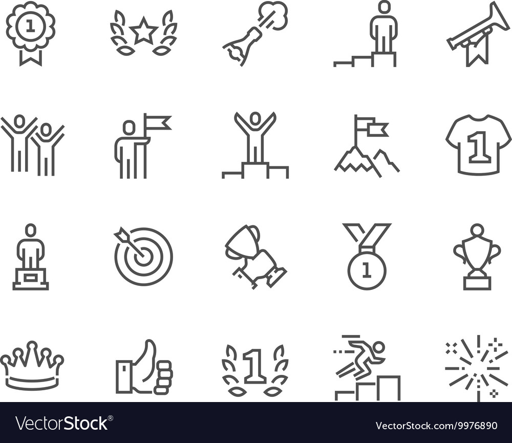 Line winning icons vector