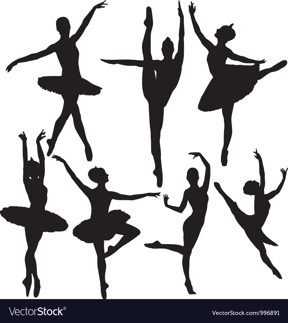 Ballet female dancers silhouettes vector