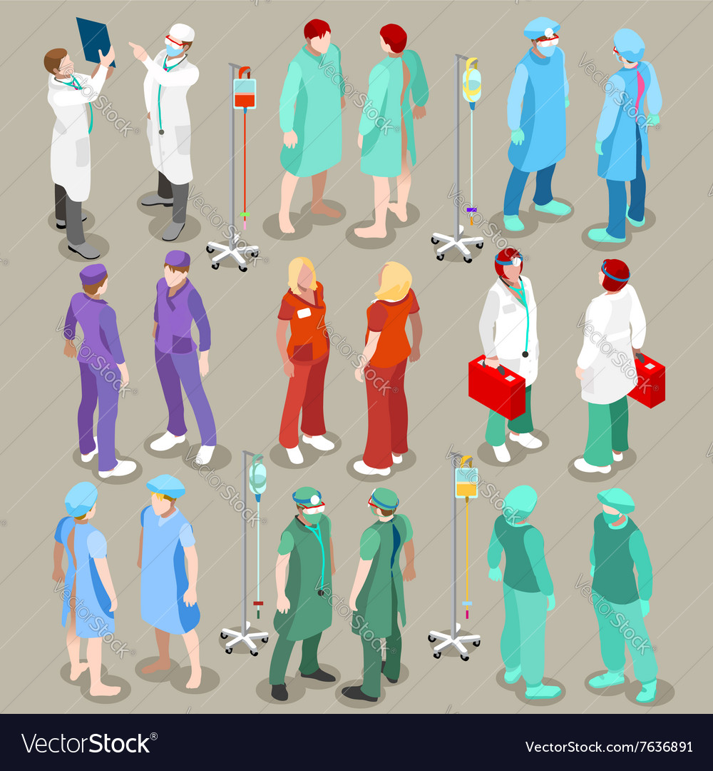 Hospital 21 people isometric vector