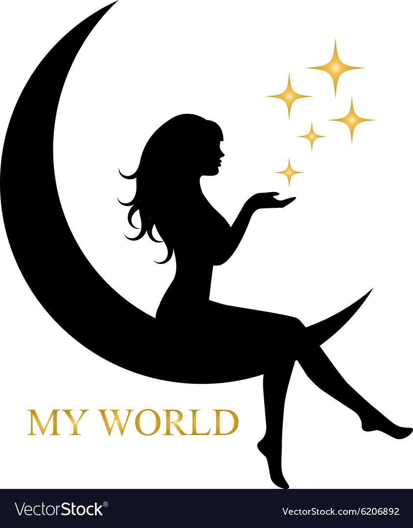 Elegant girl sitting on the moon vector