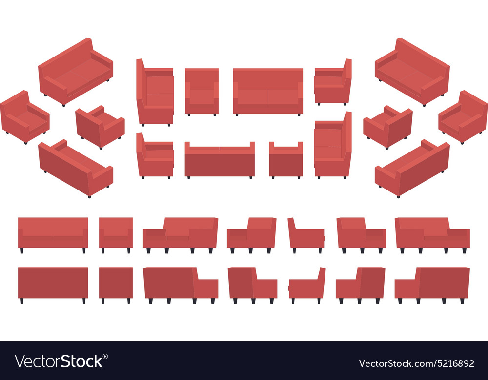 Isometric red modern armchair and sofa vector