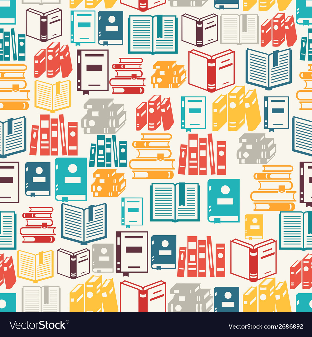 Seamless pattern with books in flat design style vector