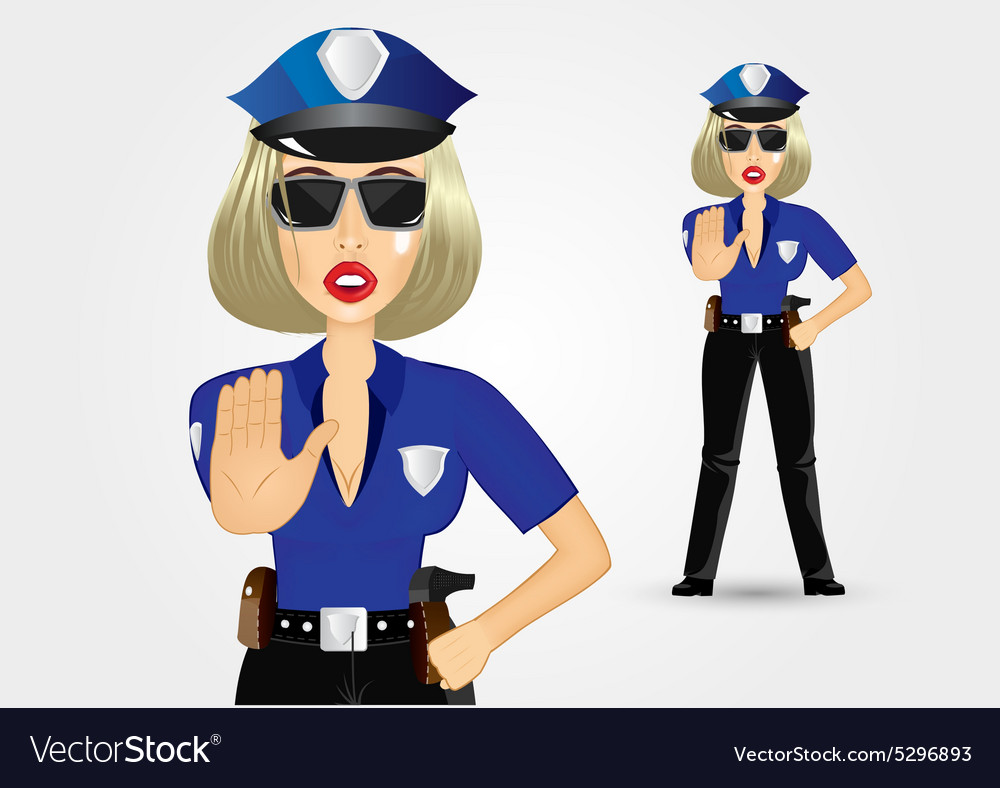 Blonde female policewoman cop showing stop gesture vector