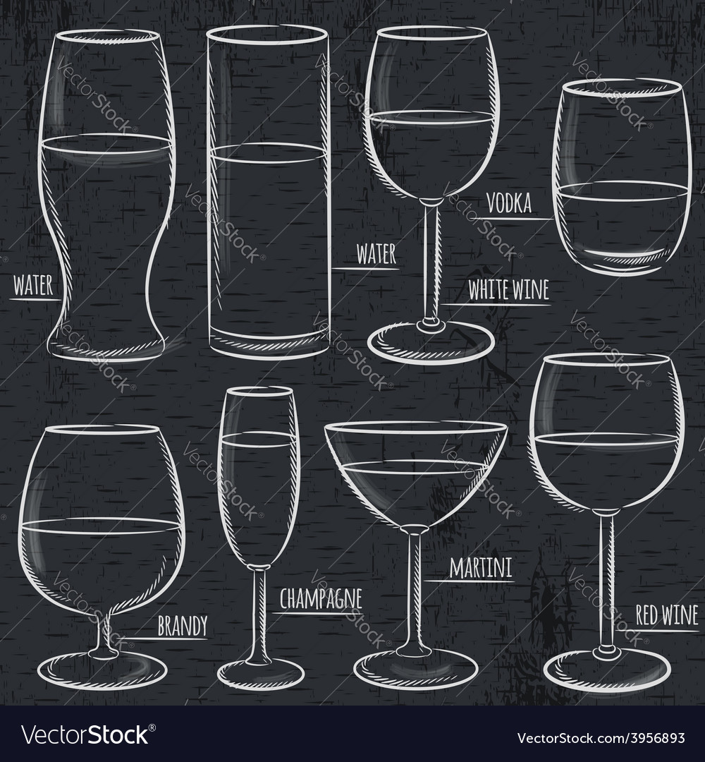 Set of different glasses on blackboard vector
