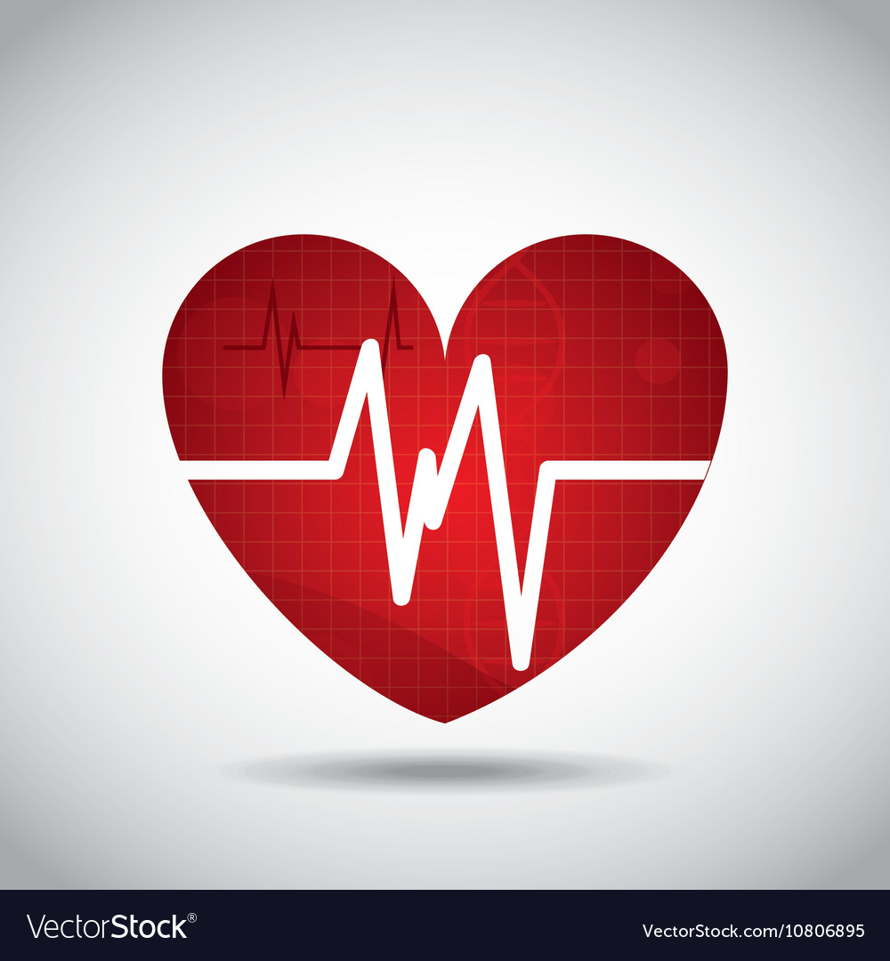 Heart cardio pulse icon vector