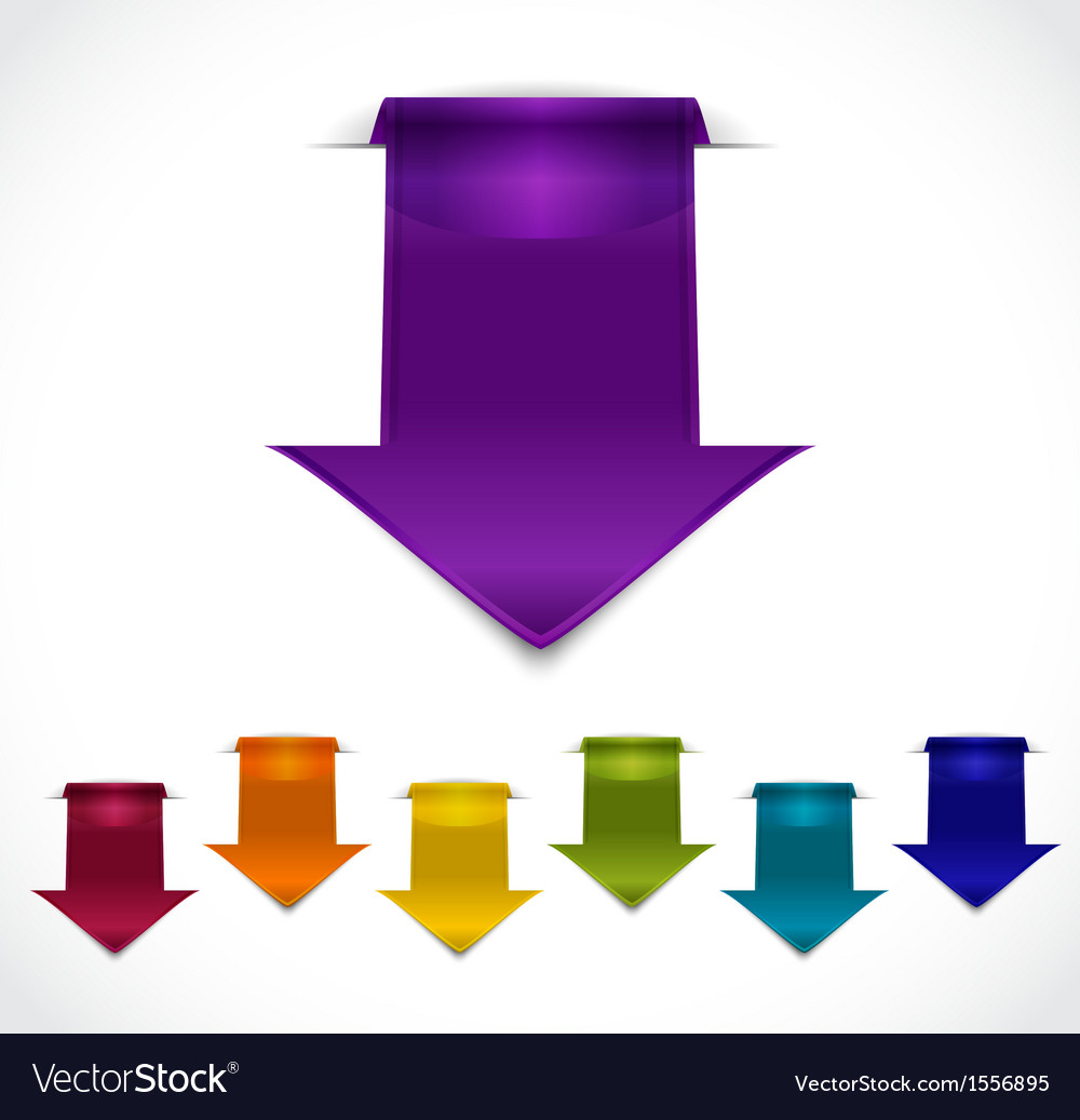 Set of 3d arrow stickers vector