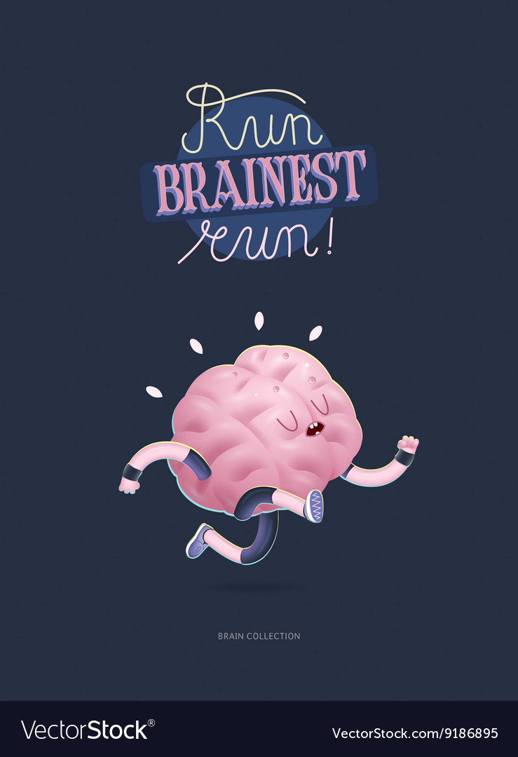 Train your brain poster with lettering running vector