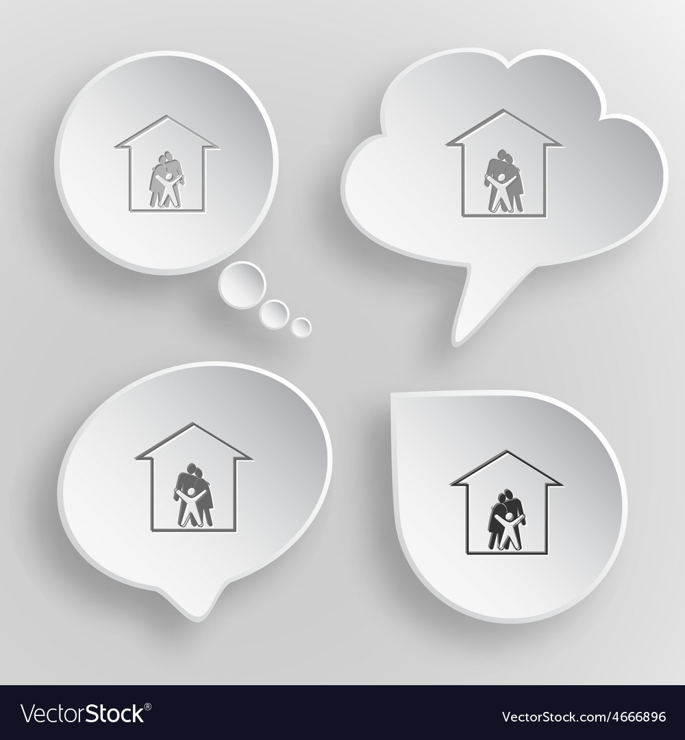 Family white flat buttons on gray background vector