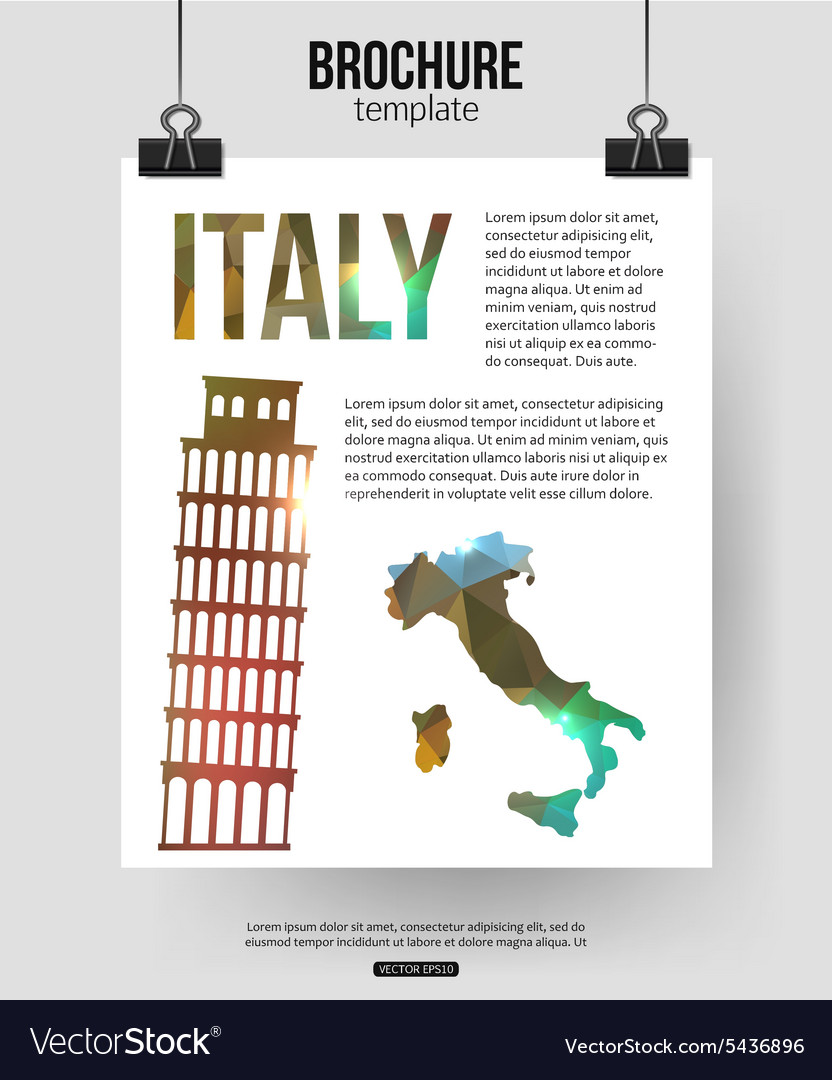 Italy travel background brochure with italy map vector