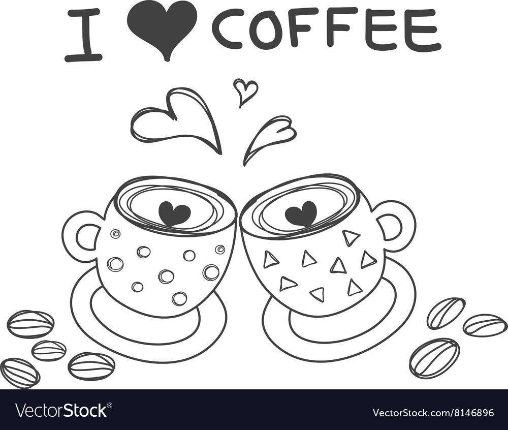 Two coffee cups with heart word i love coffee vector