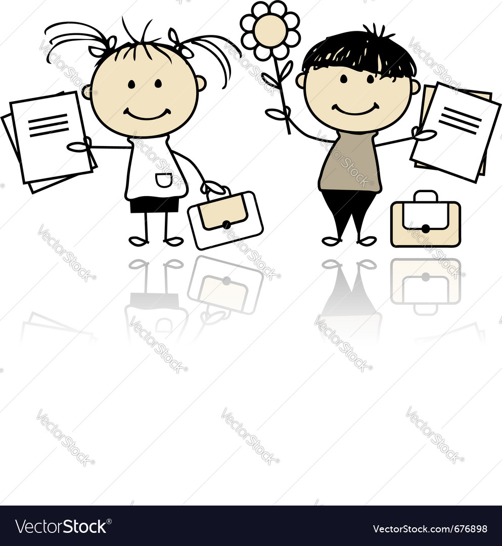 Children with school books vector