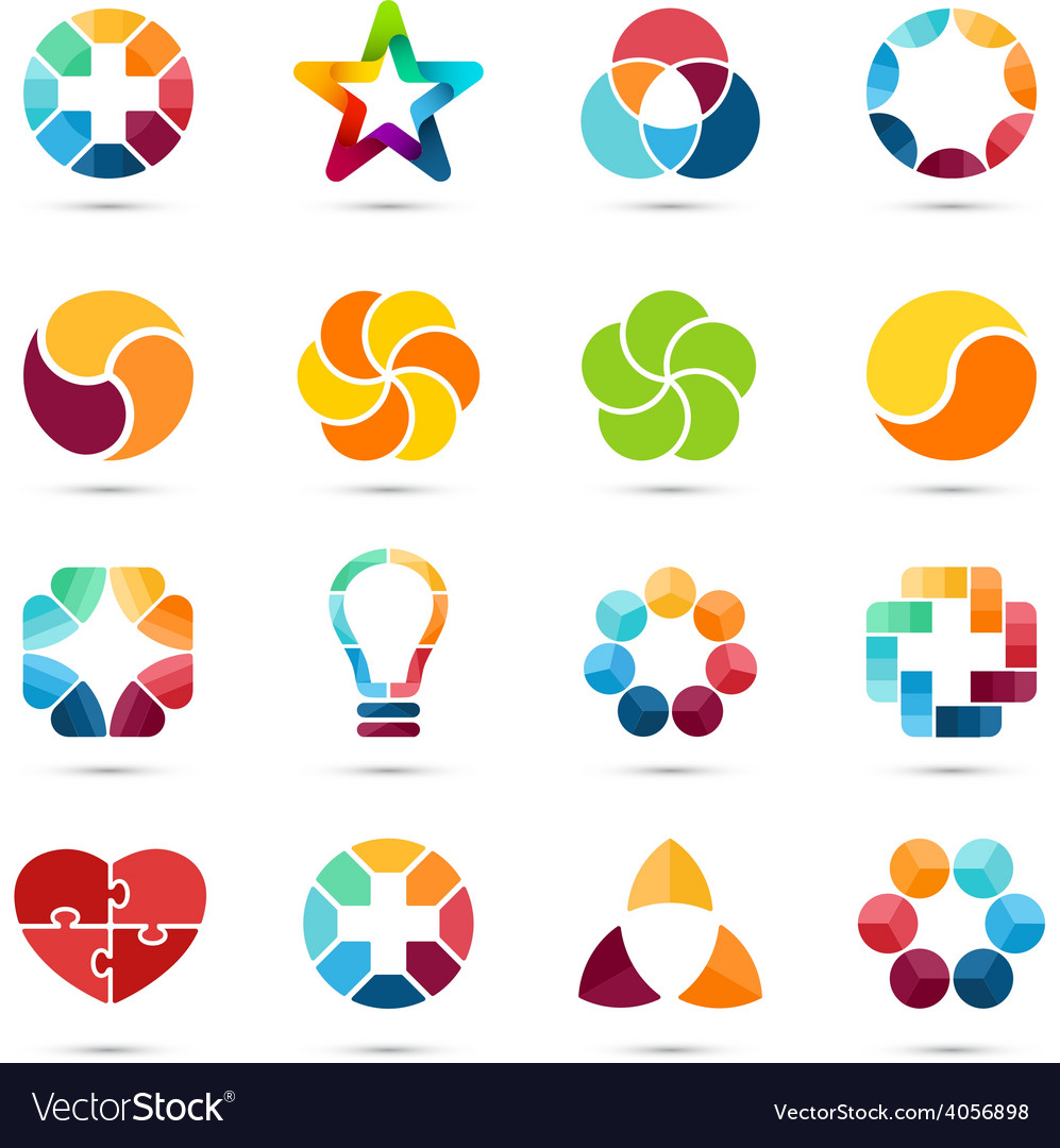 Logo set circle signs and symbols design vector