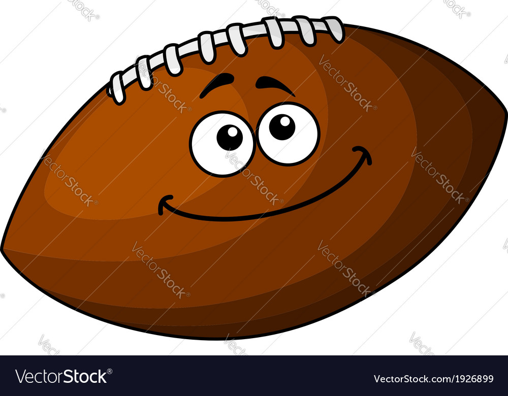 Happy cartoon football or rugby ball vector
