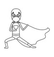 monochrome contour faceless of kid superhero in vector image