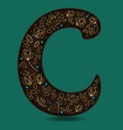 letter c with golden floral decor vector image