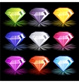 Cartoon bright colorful diamonds vector image