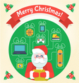 Christmas Card with Santa Claus and a Wishlist vector image