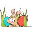 funny easter bunny peeking out from grass with vector image