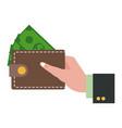 hand holding wallet dollar money shopping vector image