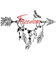 wooden arrow with freedom vector image