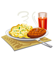 mushed potatoes with cutlet vector image