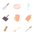 Utensils for eating icons set cartoon style vector image