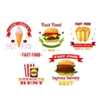 Icons set of greasy and unhealthy fast food vector image