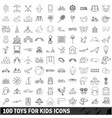 100 toys for kids icons set outline style vector image