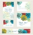 Wedding invitation set with vintage flowers vector image