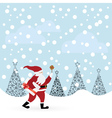 santa claus with candle and envelope in winter for vector image vector image
