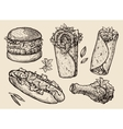 fast food Hand drawn hamburger burger pizza vector image