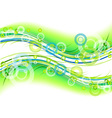 green background with circles and lines vector image